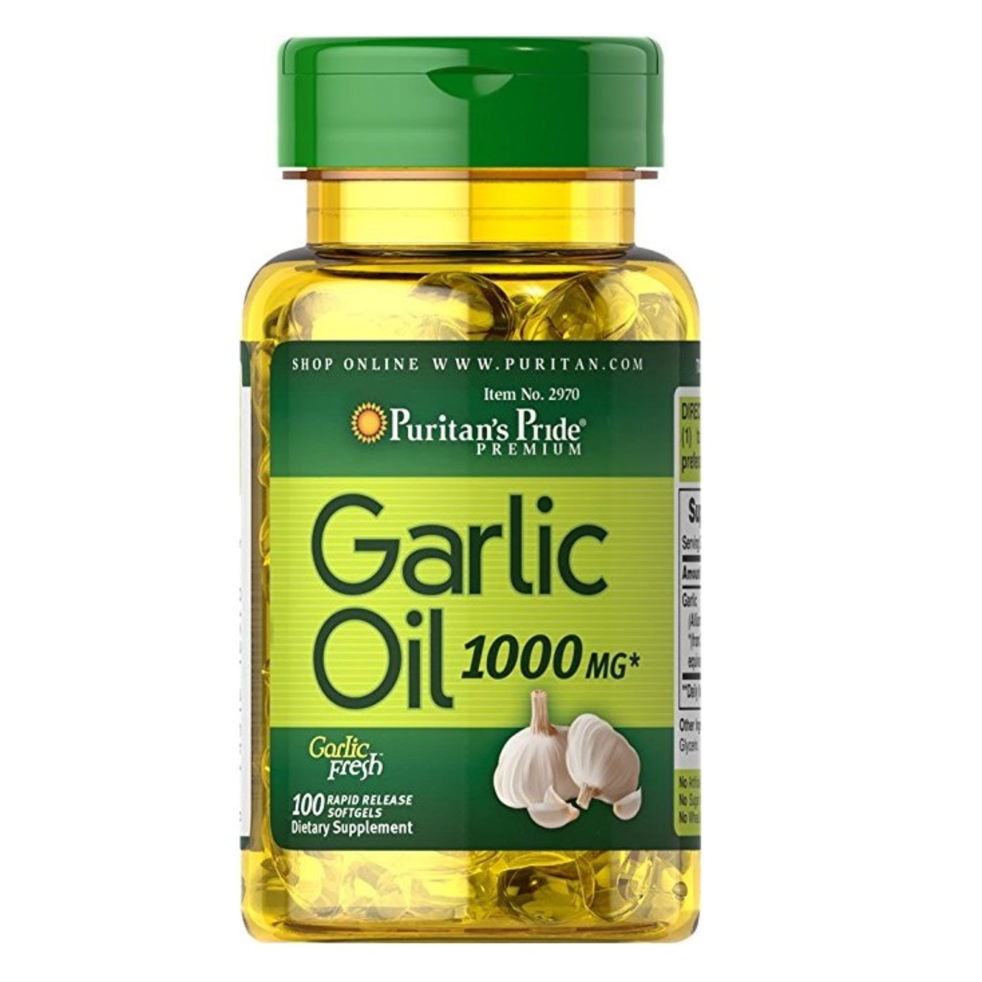 Tpcn hỗ trợ tim mạch, hệ tiêu hóa tinh chất tỏi puritan's pride garlic oil 1000 mg hộp 100 viên
