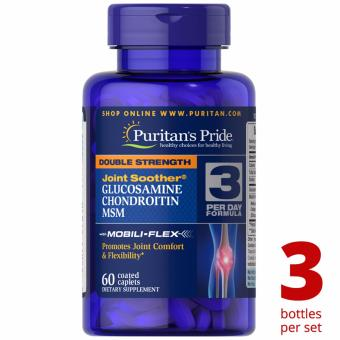 Puritan's Pride Glucosamine Chondroitin MSM Double Strength 60caplets Set of 3 Bottles