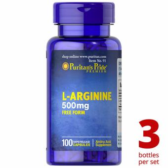 Puritan's Pride L-Arginine 500mg 100 capsules Set of 3 Bottles
