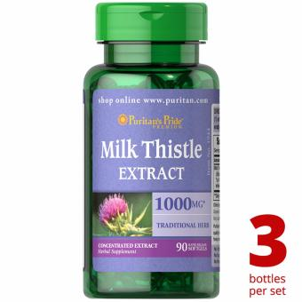 Puritan's Pride Milk Thistle Silymarin 4:1 Extract 1000mg 90softgels Set of 3 Bottles