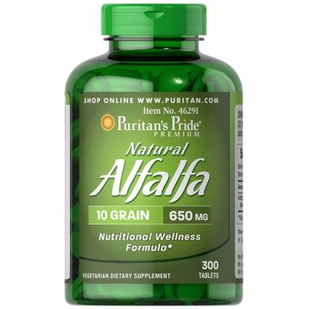 Puritan's Pride Natural Alfalfa 650mg 300 tablets Set of 1 Bottle