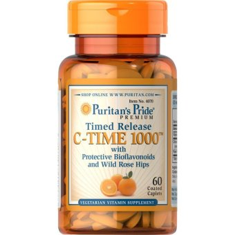 Puritan's Pride Vitamin C-1000mg Timed Release with Bioflavonoidsand Wild Rose Hips, 60 Caplets