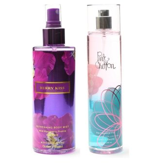 Queen's Secret Berry Kiss Body Mist for Women 250ml with Queen's Secret Pink Chiffon Fine Fragrance Mist for Women 236ml Bundle