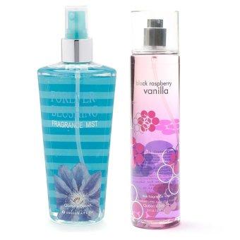 Queen's Secret Forever Blushing Fragrance Mist for Women 250ml with Queen's Secret Raspberry Vanilla Fine Fragrance Mist for Women 236ml Bundle