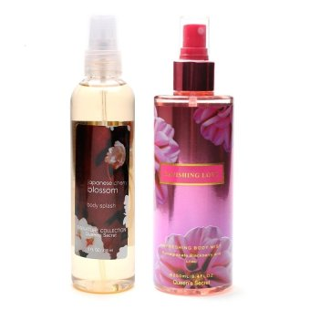 Queen's Secret Japanese Cherry Blossom Body Splash 236ml with Queen's Secret Ravishing Love Body Mist for Women 250ml Bundle