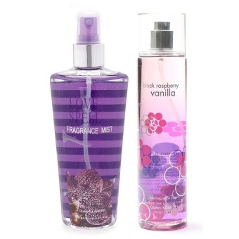 Queen's Secret Love Spell Fragrance Mist 250ml with Queen's Secret Raspberry Vanilla Fine Fragrance Mist for Women 236ml Bundle