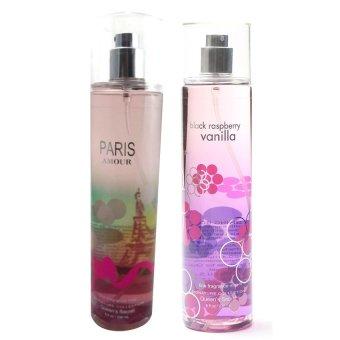 Queen's Secret Paris Amour Fine Fragrance Mist for Women 236ml with Queen's Secret Black Raspberry Vanilla Fine Fragrance Mist 236ml Bundle