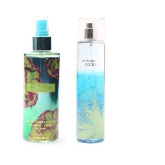 Queen's Secret Pearl Glace Body Mist for Women 250ml with Queen's Secret Sea Island Cotton Fine Fragrance Mist 236ml Bundle