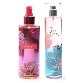 Queen's Secret Ravishing Love Body Mist for Women 250ml with Queen's Secret Pink Chiffon Fine Fragrance Mist for Women 236ml Bundle