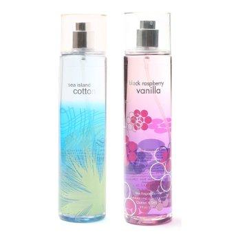 Queen's Secret Sea Island Cotton Fine Fragrance Mist 236ml with Queen's Secret Raspberry Vanilla Fine Fragrance Mist for Women 236ml Bundle