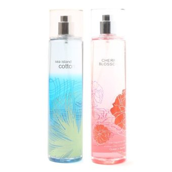 Queen's Secret Sea Island Cotton Fine Fragrance Mist 236ml with Queen's Secret Cherry Blossom Fine Fragrance Mist for Women 236ml Bundle