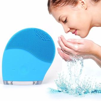 Rechargeable Waterproof Vibrating Facial Cleansing Brush (Blue)