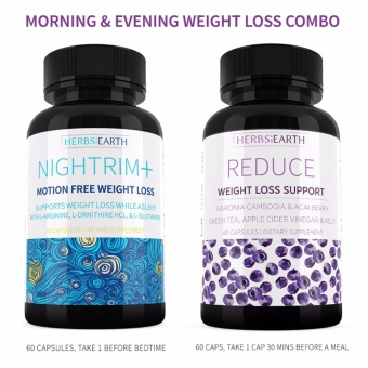 Reduce Garcinia, Acai and NighTrim+ 24 HOURS WEIGHT LOSS SUPPLEMENT, Nightrim+ Diet Pills, Burn Fat, Belly Fat, Lose Weight while asleep, PM Fat Burner, Sleep Aid - Garcinia Cambogia with l arginine, ornithine, l lysine, glutamine - 2 Bottles Combo