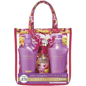 Shiseido Tsubaki Volume Touch Set Shampoo (500ml), Conditioner (500ml) with Damage Care Water (220ml) - Bottled / Violet