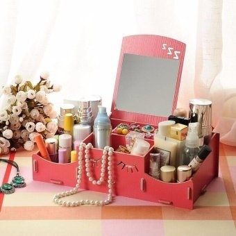 Smiley Face Wooden Desk Makeup Cosmetic Jewelry Organizer(Watermelon Red) Price Philippines