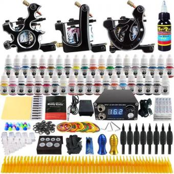 Solong Tattoo Complete Tattoo Kit 3 Pro Machine Guns 40 Inks PowerSupply Foot Pedal Needles Grips Tips TK356