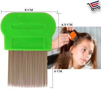 Stainless Steel Hair Lice Comb Brushes Terminator Fine Dust RemovalToo (Green)