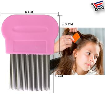 Stainless Steel Hair Lice Comb Brushes Terminator Fine Dust RemovalToo (Pink)