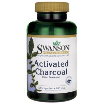 Swanson Premium Brand Activated-Charcoal 260mg for Bloating,Indigestion, Detoxification, Stomach Cleanser bottle of 120capsules