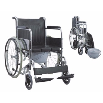 Taiwan Heavy Duty Chrome Wheelchair with Commode attachment (Silver) Price Philippines