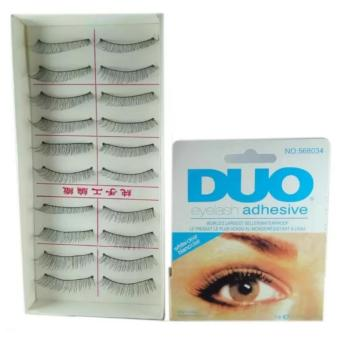 Taiwan Natural Black Long False Eyelashes (10 Pairs) with DuoEyelash Adhesive