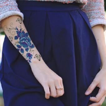 Tattoo TBX 9011 Rose Artificial Flower tattoo sticker flash henna waterproof temporary tattoo on Women Body - 3