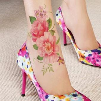 Tattoo TBX 9031 Rose Artificial Flower tattoo sticker flash henna waterproof temporary tattoo on Women Body - 3