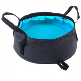 Tuban Ultra-light 12L Outdoor Hiking Camping Folding Washing BasinBucket Portable Water Pot (Sea Blue)