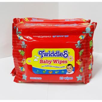 Twiddles Baby Wipes Unscented 80 sheets Set of 2 + Twiddles BabyWipes Unscented 20 sheets