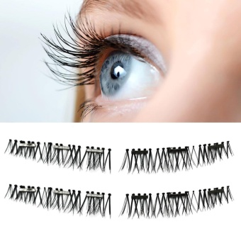 Ultra-thin 0.2mm Magnetic Eye Lashes 3D Reusable False Magnet Eyelashes B - intl