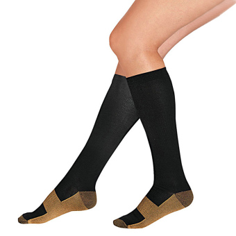 Unisex Miracle Copper Anti-Fatigue Compression Socks Soothe TiredAchy Black - Intl