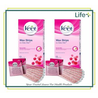 VEET Hair Removal Cold Wax Strips - Legs and Body for NORMAL SKIN 12 Strips Set of 2 (13034808)