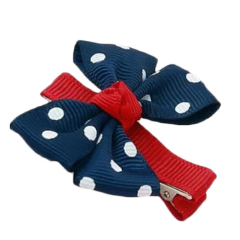 Velishy Big Bow Girls Hairclip Dot Flower Navy