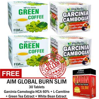 Vita Herbs Green Coffee (2 Boxes) + Vita Herbs GarciniaCambogia Coffee Slim (2 Boxes) with FREE Aim Global Burn Slim Price Philippines