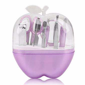 Wawawei Apples Shape 9pcs Stainless Steel Manicure Set NailCosmetic Makeup Tool - intl (Violet)