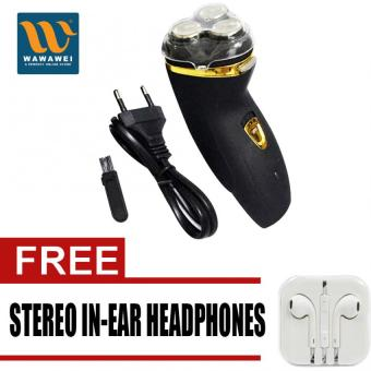 Wawawei Electric Shaver ES-178 for men (Black) with free StereoIn-Ear Headphone (White)