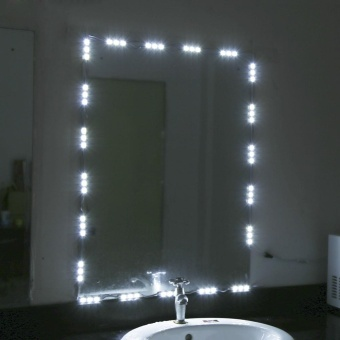 White LED Light Strip Kit Dressing Makeup Cosmetic Vanity Mirror Lighted with Power 5FT - intl
