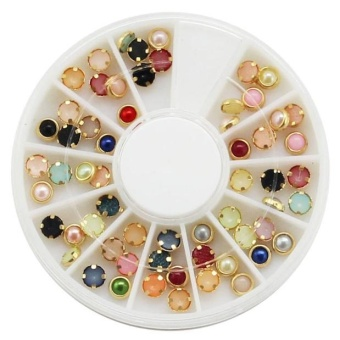 Wholesale 3D Acrylic Nail Art Tips Stud DIY Decoration GlitterRhinestones Wheel - intl