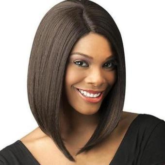 Women Brown Fashion Short Straight BOB Hair Full Wig Cosplay Party+ Cap - intl - 2