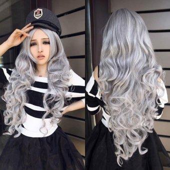 Women Gray Long Curly Wavy Hair Full Cosplay Lolita Wig - intl
