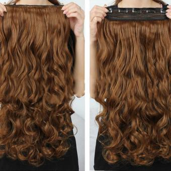 Women Long Curly Wavy Wig Heat Resistant Fiber Synthetic Hair Piece 5 Clips In Hair Extensions 50cm - intl
