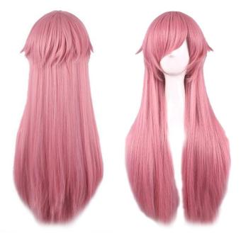 Women Long Straight Anime Wig Cosplay Pink Hair Wig 80cm - intl