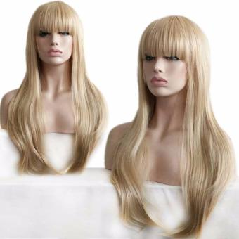 Women Long Wave Hair Wig Heat Resistant Synthetic Fiber Wig with Front Neat Bang - intl