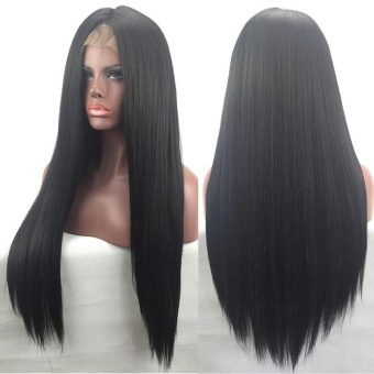 Women Natural Straight Full&Front Lace Synthetic Hair Wigs 30inch - intl