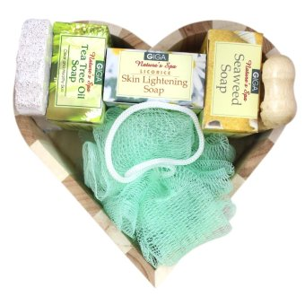 Wood Heart Bath Set A BS083 (7 pcs)