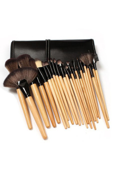 Wood Makeup Brushes Cosmetic Make Up Set Kit Pouch Bag 24-piece SetBlack