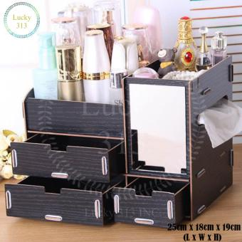Wooden Cosmetic Make Up Jewelry Box Storage Organizer (Black) Price Philippines