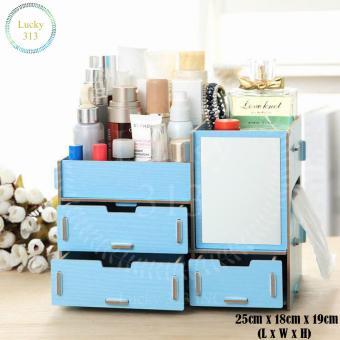 Wooden Cosmetic Make Up Jewelry Box Storage Organizer (Blue) Price Philippines