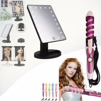 XR-1608 Make Up Vanity Illuminated Desktop Table Makeup Stand LargeLED Mirror with 16 LED Light (Black) with RZ-118 Professional HairCurler (Violet/White)