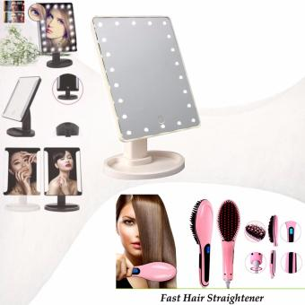 XR-1608 Make Up Vanity Illuminated Desktop Table Makeup Stand LargeLED Mirror with 16 LED Light (White) with HQT-906 Fast HairStraightening (Light Pink)